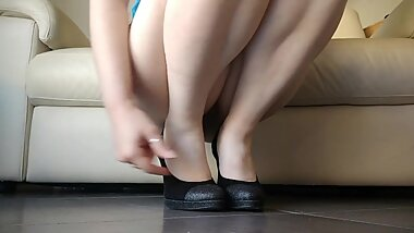 the giantess wants to crush you with the soles of her dirty shoes