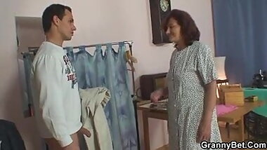 My granny play with young cock