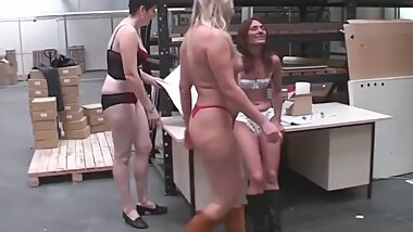 Three Horny Girls Fucked At Work - TacAmateurs