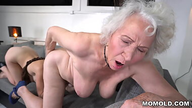 Hairy Granny And Hot French Friend Eat Pussies