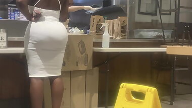 African Bubble Nut Booty in White Dress