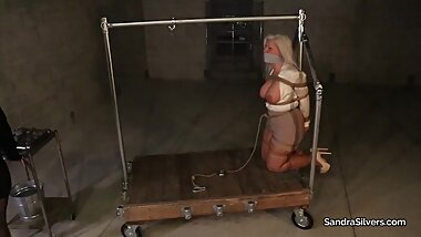 2448 Crotch Rope Weight Endurance for MILF Sandra, in a Steel Device Bondage Predicament!